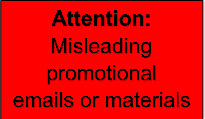 Misleading promotional emails or materials